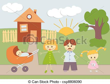 Vector Clipart of Family and House.