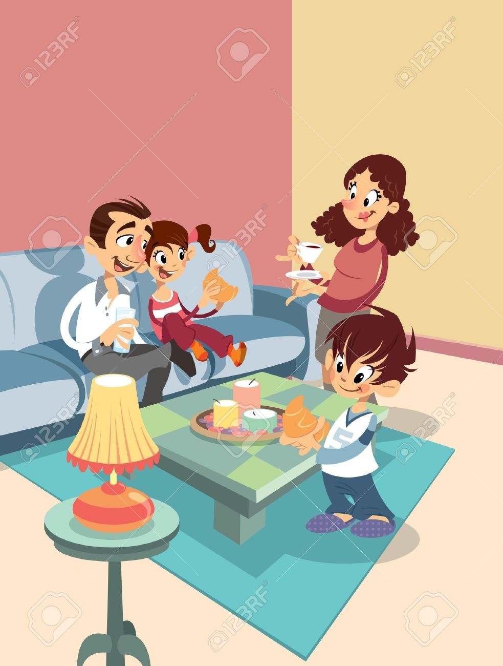 Happy Family At Home Clipart.