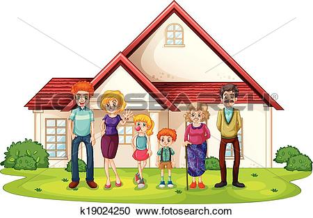 Clipart of A family in front of their big house k19024250.
