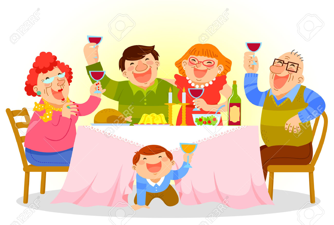 family eating lunch clipart #13