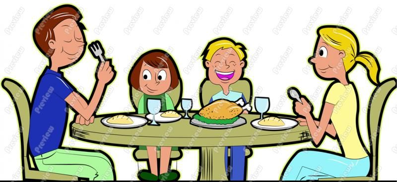 Family Eating Thanksgiving Dinner Clip Art.