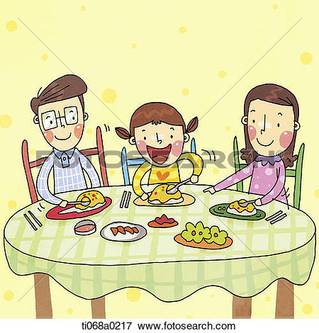 Clip Art of A family at the meal, Illustration u12215322.