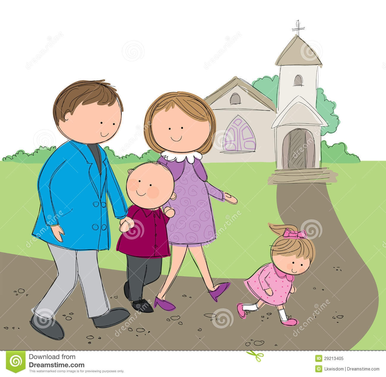Family Going To Church Together Clipart