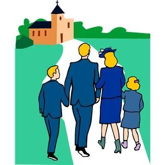 Family Going To Church Together Clipart.