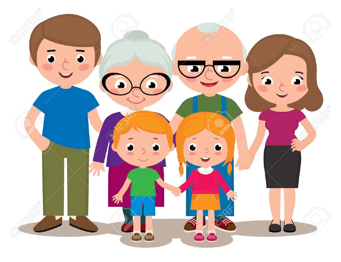 Stock Vector Cartoon Illustration Of A Family Group Portrait.