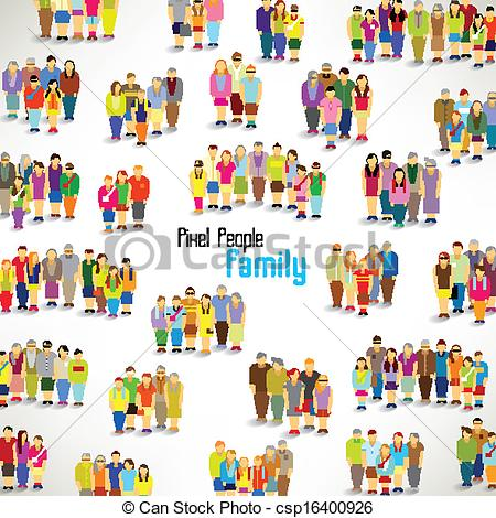 Vector Illustration of a large group of families gather vector.