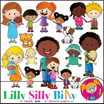 Family Diversity 3. Clipart. BLACK AND WHITE & Color Bundle. {Lilly Silly  Billy}.