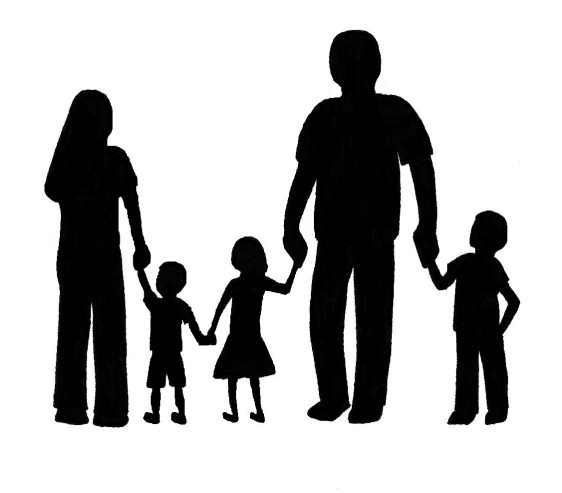 Family With 3 Kids Clipart.