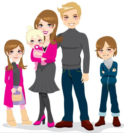 Happy family of 5 clipart.