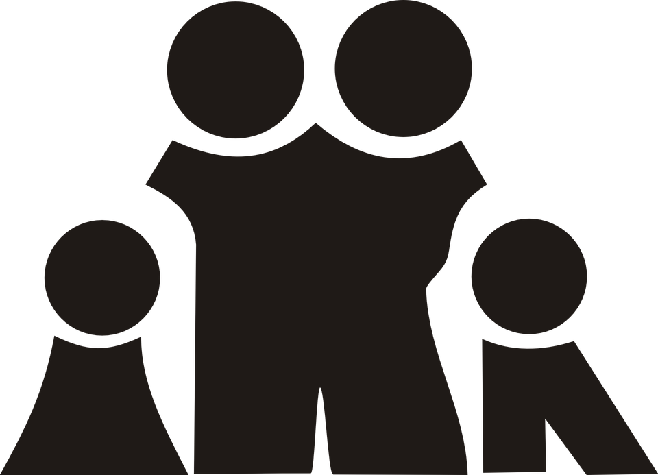 Free vector graphic: Family, Black, Silhouette, Kids.