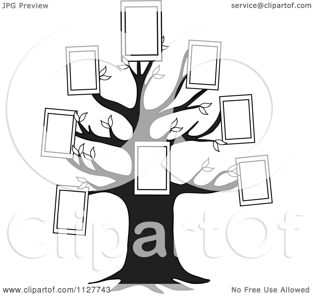 Cartoon Of A Black And White Family Tree With Picture Frames.
