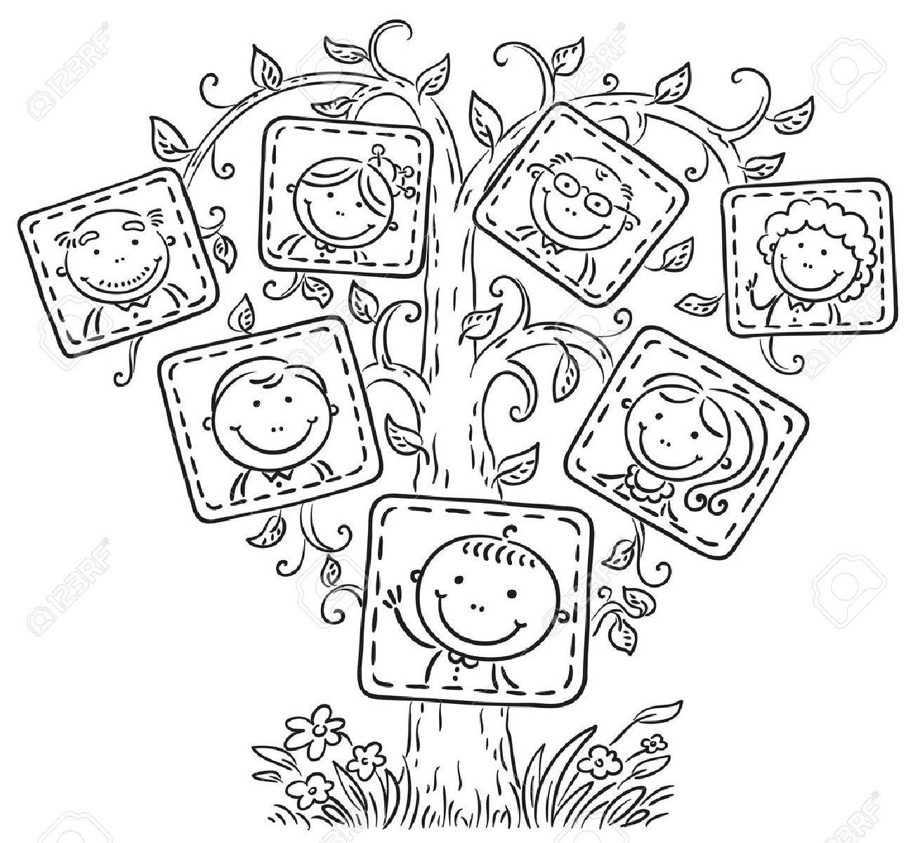 Happy family tree in pictures, black and white outline.
