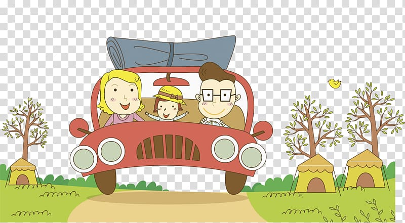 Cartoon Family, family vacation transparent background PNG.