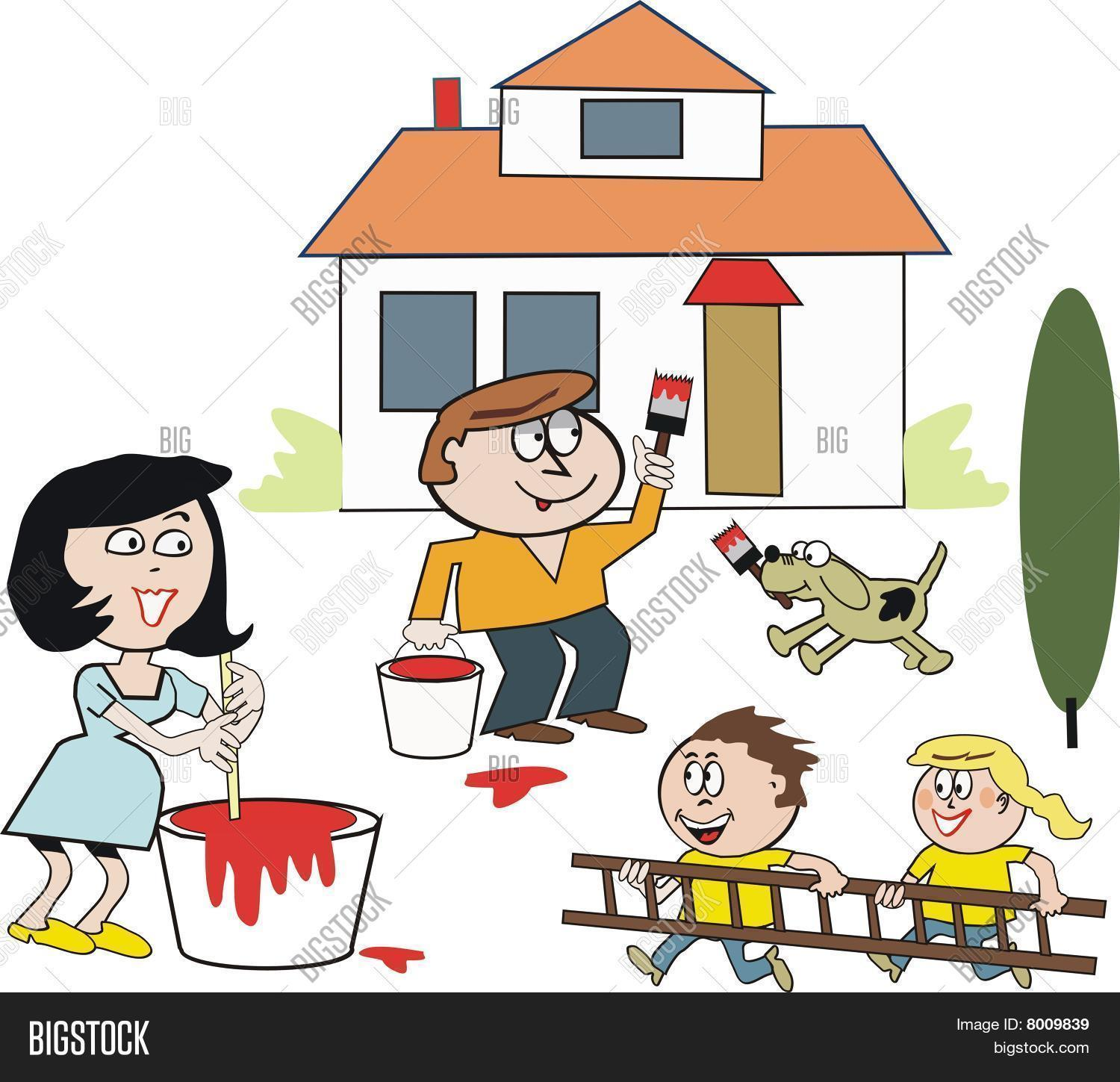 Family painting house cartoon Stock Vector & Stock Photos.