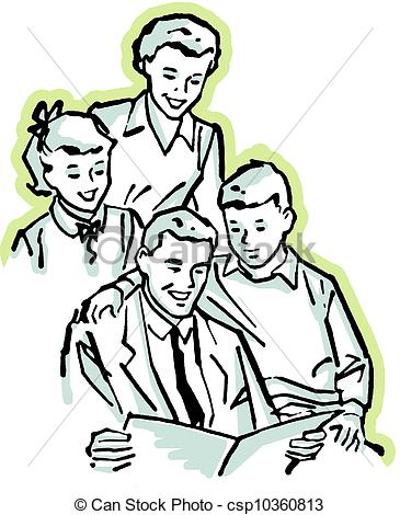 Clipart of A vintage illustration of a family working together.