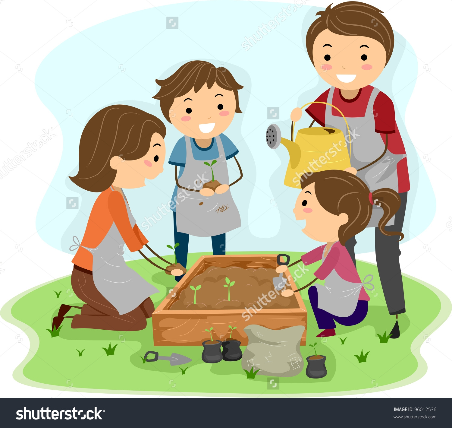 Family Cleaning Together Clipart.