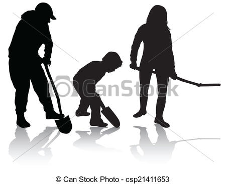 Clipart Vector of Family working together csp21411653.