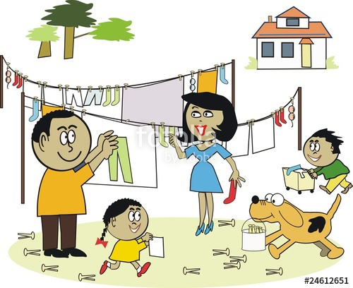 African family working together cartoon