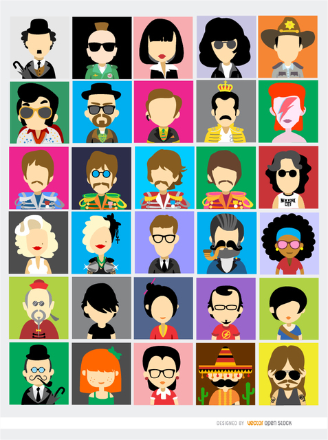 30 Famous People Avatars Free Vector.