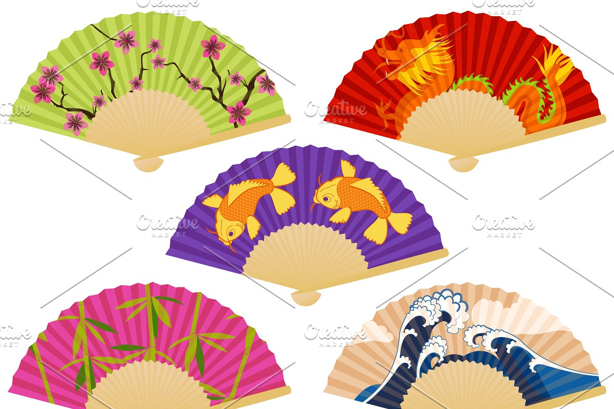Japanese Fans Vectors and Clipart.