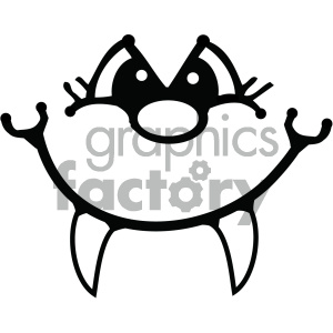black and white cartoon face with fangs clipart. Royalty.