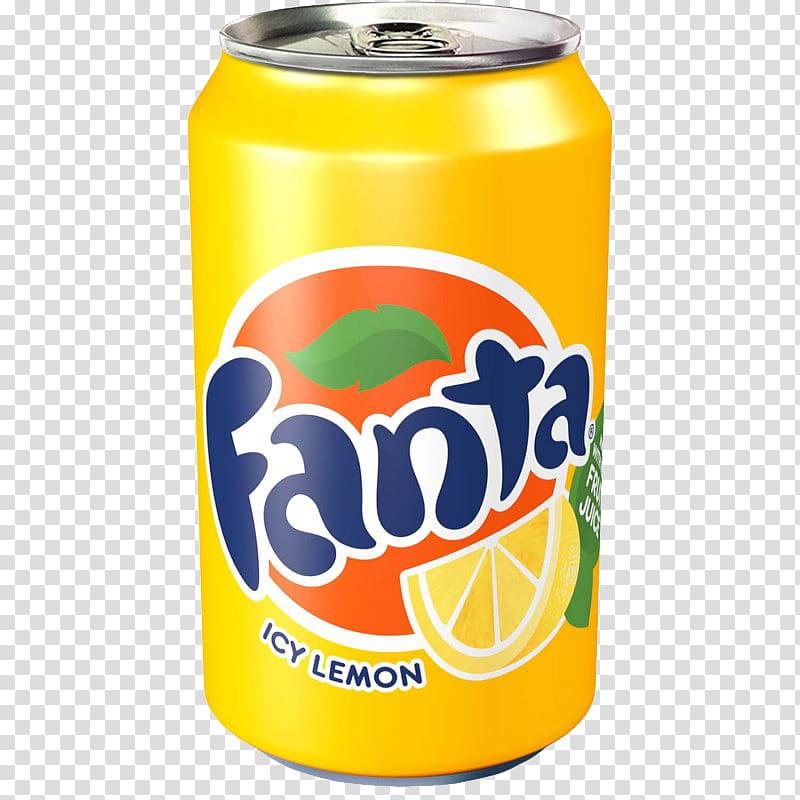 Fanta Lemon, Fan can transparent background PNG clipart.
