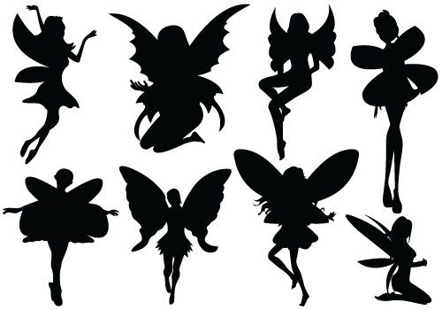 Awesome Fairy Silhouette Vectors as a Vintage collection. Welcome.