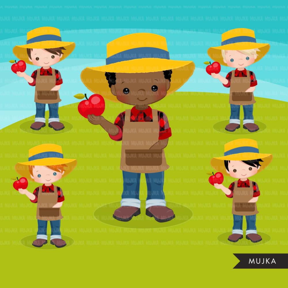 Farmer\'s Market clipart boys graphics, cute farmers, fall.
