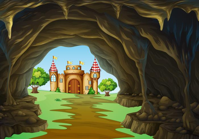 Far away kingdom with castle and cave.