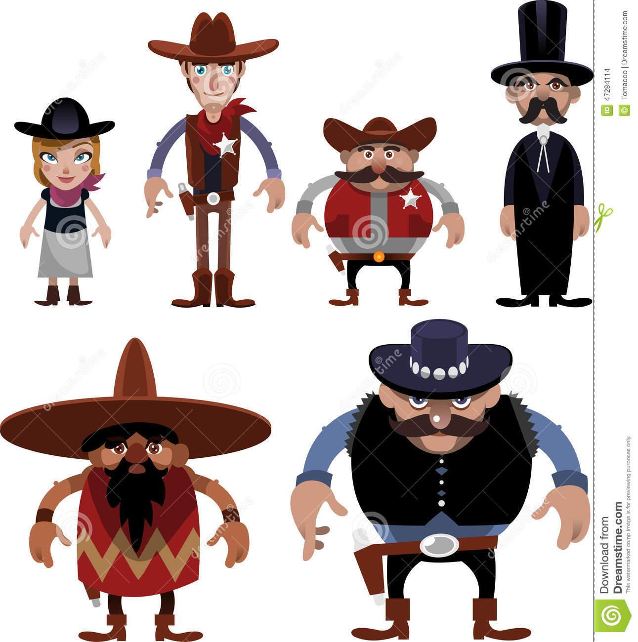 Far West Cartoon Characters Stock Illustration.