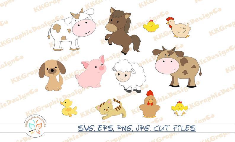 Farm animal clip art Bbarn svg Farm clipart Farm animals clipart Farm svg  bundle Barnyard clipart Farm animals png Cute Farm clipart.
