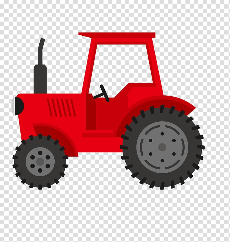 Red tractor illustration, Tractor John Deere Agriculture.