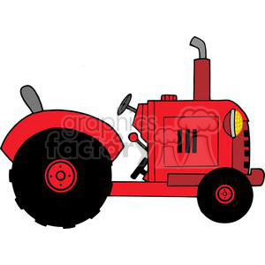 Vintage Red Farm Tractor clipart. Royalty.