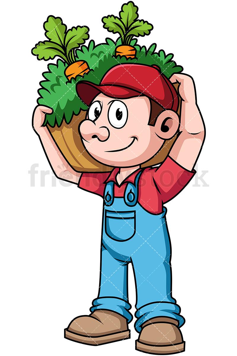 Farmer Carrying Harvested Vegetables.