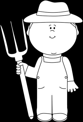 Cute Farmer Black And White Clipart.