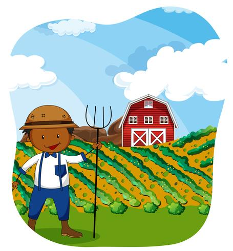 Farmer working in the farmland.