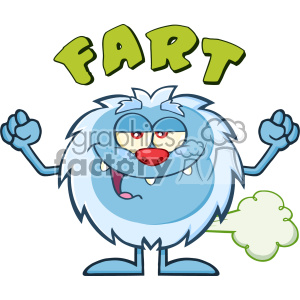 Smiling Little Yeti Cartoon Mascot Character Farting Vector With Text Fart  clipart. Royalty.