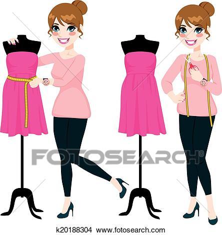 Fashion Designer Woman Clipart.