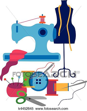Set of decorative elements of the fashion designer of clothes Clipart.