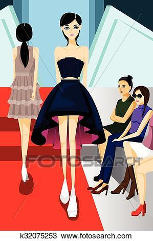 Fashion Model Walking on Runway Show Clipart.