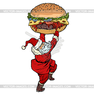 Santa Claus with Burger. Christmas menu fast food.