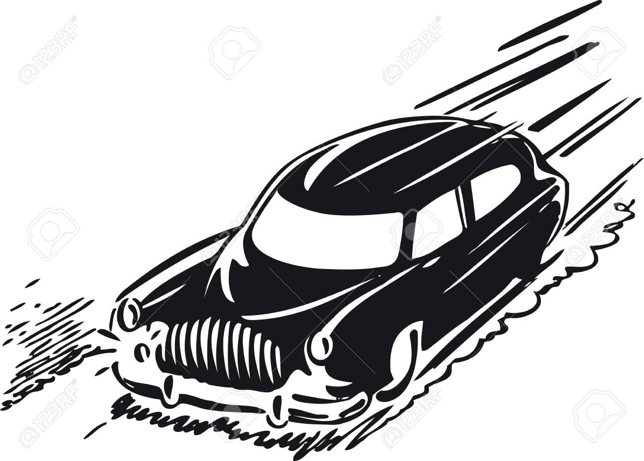 Fast car, Retro Vector Illustration.