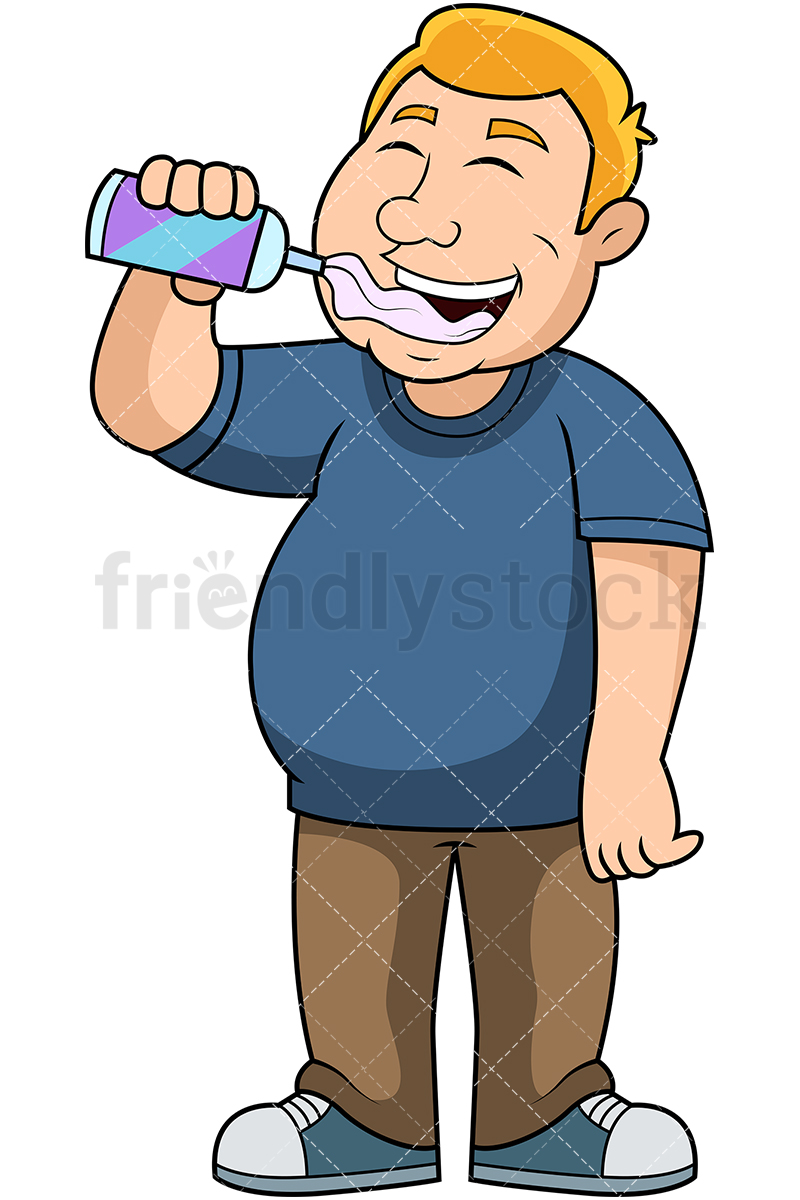 Fat Guy Eating Whipped Cream Cartoon Vector Clipart.