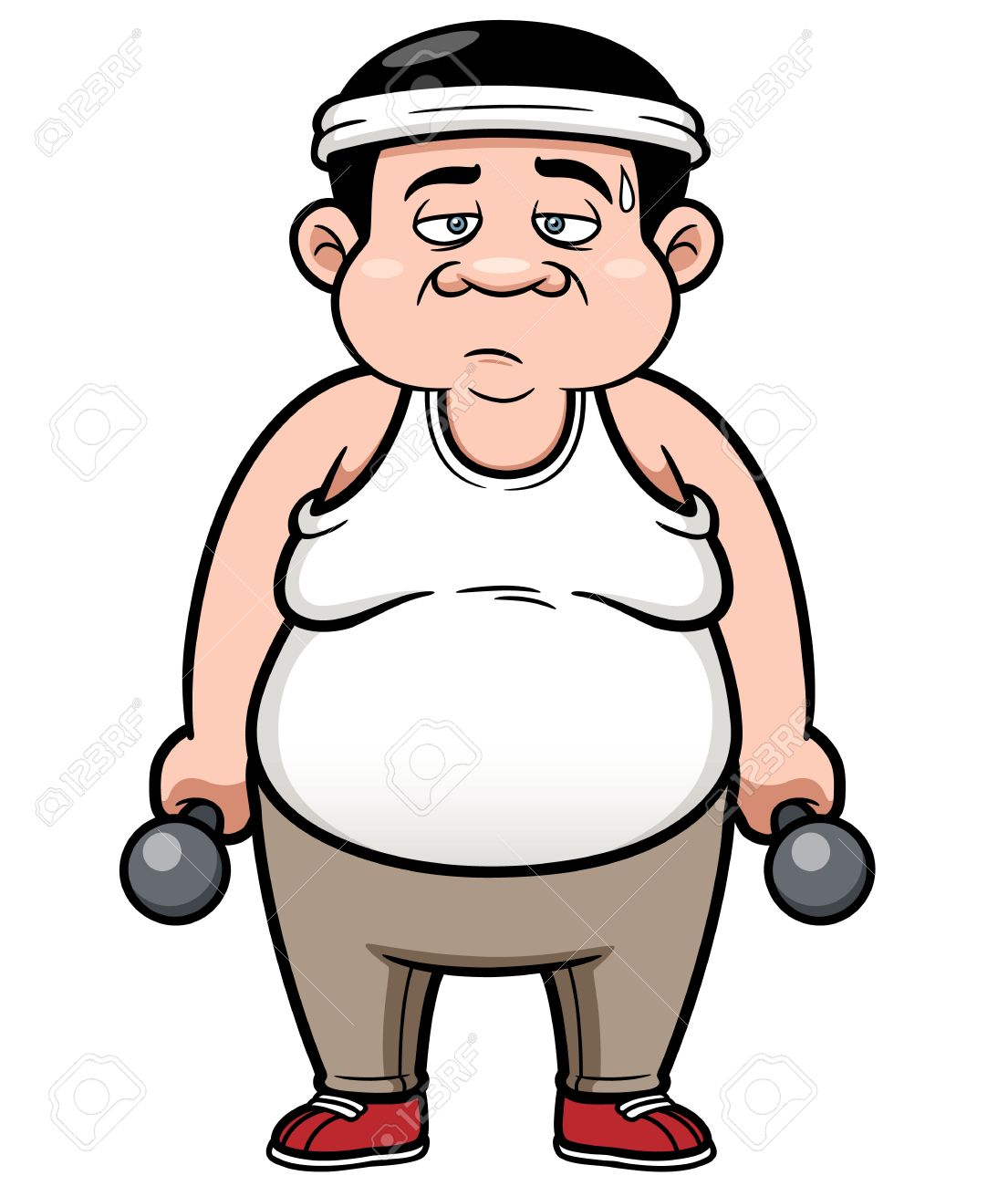 Vector illustration of Fat man with dumbbells.