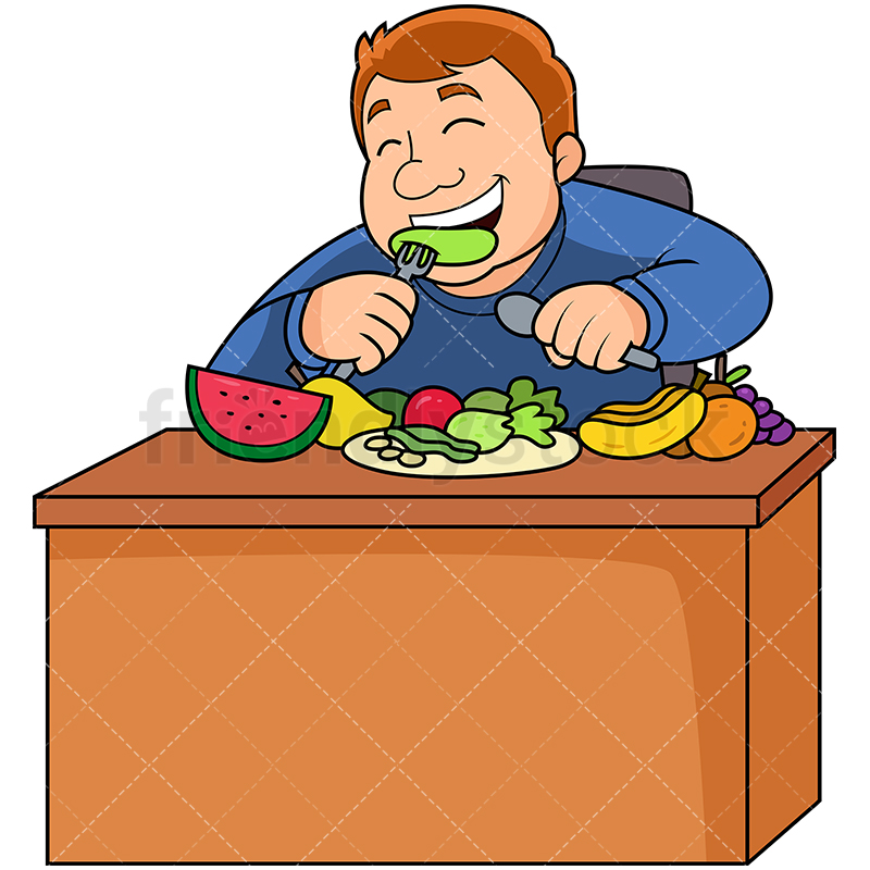 Fat Man Eating Fruits And Vegetables.