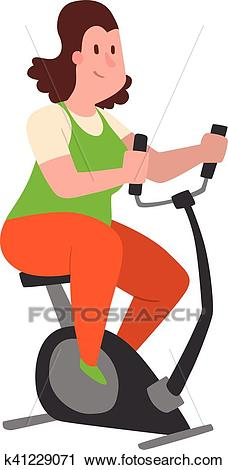 Fat people fitness gym vector Clipart.