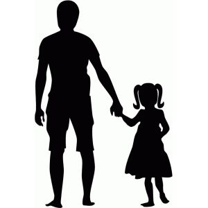Silhouette Design Store: father & daughter holding hands silhouette.
