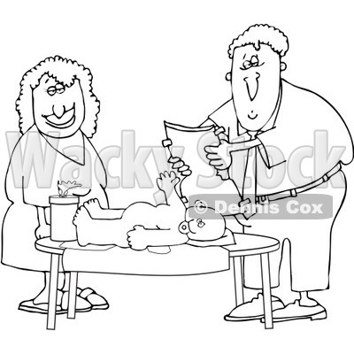 Free Vector Clip Art Illustration of a Black And White Father.