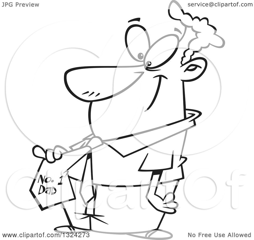Lineart Clipart of a Cartoon Black and White Happy Father Smiling.