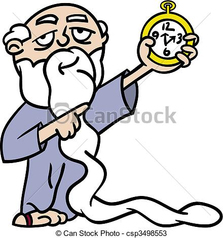 Father Time pointing at watch.